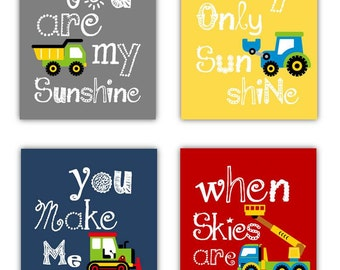 Construction Art for Kids // You are my sunshine Art Prints // Construction Vehicles Decor // Art for Boys // Truck Art Four PRINTS ONLY
