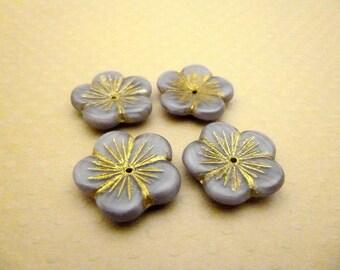 Lot de 4 larges perles fleurs en verre 20x4mm Mauve Gold - CBCFL2-1346
