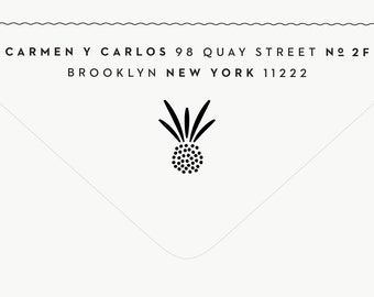 Return Address Stamp Modern - Pineapple Stamp - Custom Stamp - Pineapple Stationery - Wedding Stamp - Tropical - Rubber Stamp - Carmen No. 1