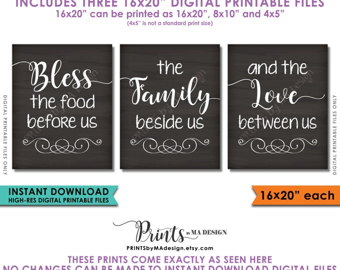 "Bless the Food Before Us The Family Beside Us the Love Between Us, Kitchen Wall Decor, PRINTABLE 8x10/16x20"" Chalkboard Style Signs <ID>"