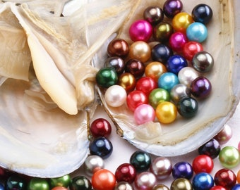 5PCS Oysters With 10 Rainbow Colored Round Pearls Inside,Mini Monsters,Rainbow Oysters