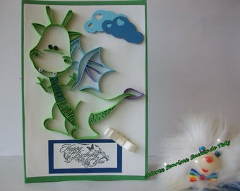 Happy Birthday Dragon Card, Handmade Fantasy Card, Animal Quilled card for kids, Greeting card with dragon, Dragon child card, Quilling card