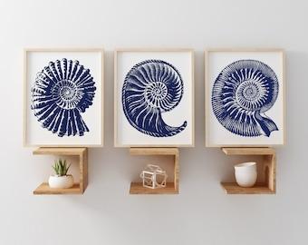 Seashell Art Printable, Nautical Art Set of 3 Navy Shell Wall Art, Sea Beach Art Prints, Instant Download Beach Art, Navy 8x10 Set Artwork