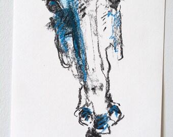 Original Sketch of a horse head, Animal Art, Contemporary Original Study