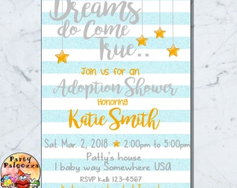 Printable Adoption  Baby shower  invitation