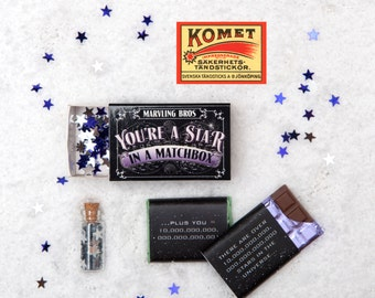 You're A Star Chocolate Gift In A Matchbox - BFF Gift - Best Friend - Gift For Mum - Thank You Gift - Matchbox - Gift For Mum - Teacher Gift