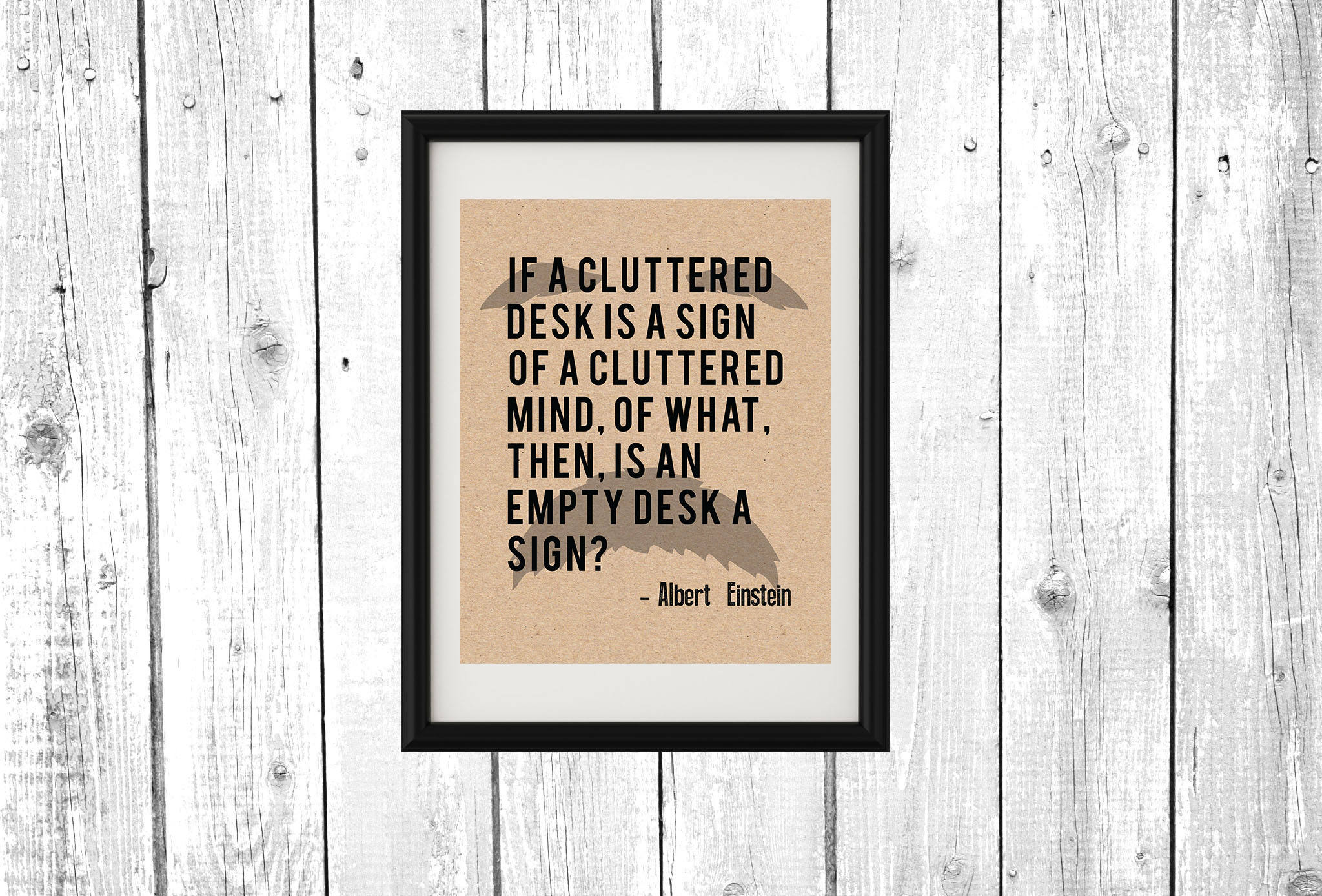 Albert Einstein A Cluttered Desk Quote Printable Poster Wall