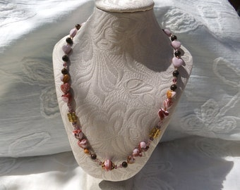 "31. Handmade necklace ""Japanese spring"", bronzite, heart shape pearls, woman gift"