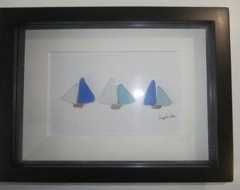 Sea glass sailboat framed design