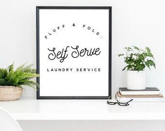 laundry room art print, laundry art, fluff and fold, home decor art, minimalist, farmhouse sign