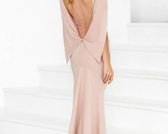 Gorgeous powder prom dress, evening dress, evening gown, elegant dress, floor length dress, maxi dress