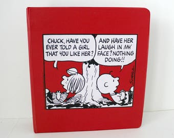 Peanuts Charlie Brown Vintage 3 Ring Binder Notebook, 1970s Peppermint Patty Red and White