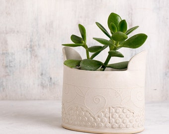 Ceramic Planter, Succulent Planter, Indoor Planter, White Modern Planter, Large Planter Pot, Cactus Planter, Indoor Gardening, READY TO SHIP