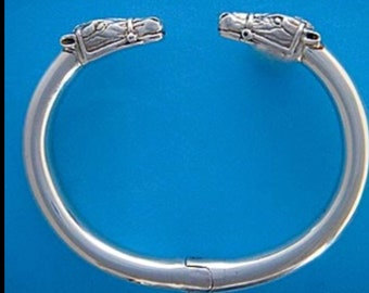 Sterling Silver Double Horse Head Himged Bangle Bracelet