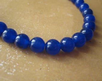10 electric blue jade beads 6mm round