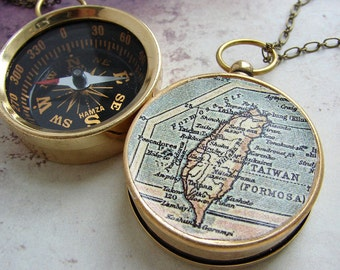 Map Compass Necklace, personalized jewelry, personalized map anniversary gift custom compass graduation gifts, vintage Taiwan Formosa Map