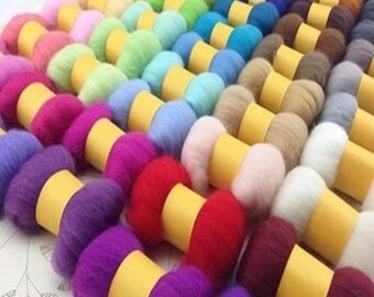 Superfine Merino Wool Roving Choose from 40 Colors for Needle Felting Kits Individual Package