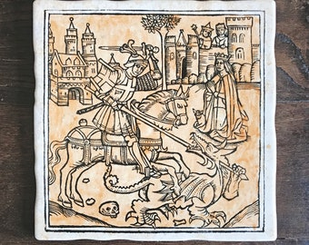 Saint George and the dragon Screen printed decorative tile