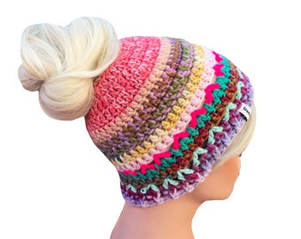Messy Bun Beanie Bun Beanie Bun Hole Beanie ONE OF A KIND Will not be re listed