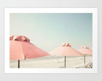 Beach photography, extra large wall art, beach print, wall art canvas, beach wall art, large wall art, beach umbrella, framed wall art