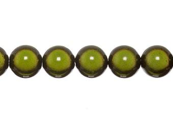 10 x 12mm - Green KHAKI magic round beads