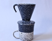 Speckled Coffee Pourover Black and White Single Cup Coffee Maker Ready to Ship