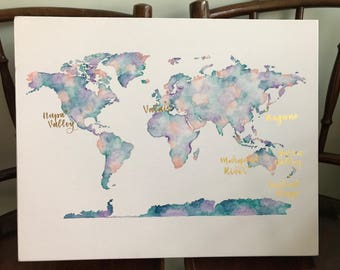 Watercolor World Map - Handpainted Canvas