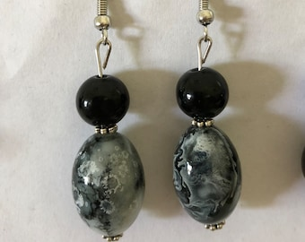 Grey and Black Marble Earrings