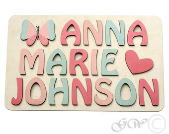 Puzzle etsy personalized 3 name puzzle with butterfy and heart puzzle name personaziled toy personalized negle Images