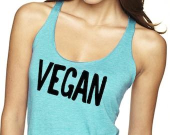 Vegan Tank Top,Triblend Top, Vegan Shirt, Vegan Tee, Vegan tshirt, Vegan month of food, T-Shirt, Level Apparel
