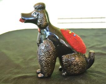 Vintage Black Poodle Dog Pincushion Novelty Figurine Pin Cushion Ceramic 1950's Mid Century