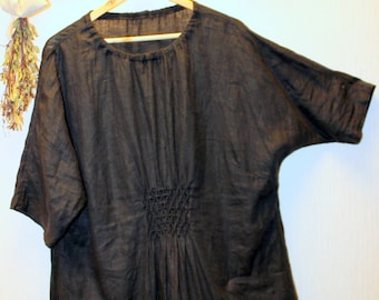 Linen Tunic/Stone Washed Lithuanian linen/Oversize tunic dress/Tunic XXL.Three quarter drop sleeves.Handmade/designed and made by AnBerlinen