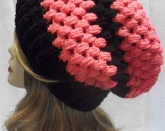 Crochet Slouchy Hat, Pink and Black Winter Slouchy Hat, Warm Winter Slouchy Hat in Papaya Pink and Black with Free US Shipping by DRCrafts
