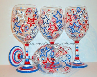 July Fourth, Patriotic New Years Eve Stars & Stripes Red White and Blue Independence Day Set of 4 -20 oz. Hand Painted Wine Glasses