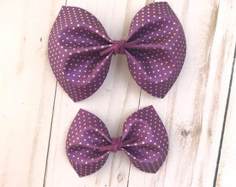 Purple faux leather and gold polka dots hair bow, baby headband, nylon headband, alligator clip