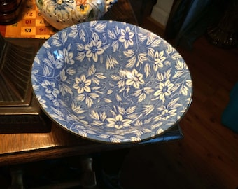 Blue and White Chintz Oriental Asian Serving Bowl