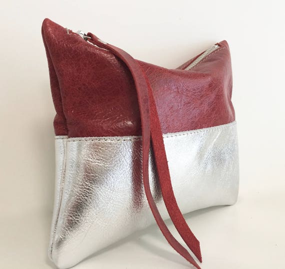 Leather pouch silver, silver leather purse, small leather bag silver