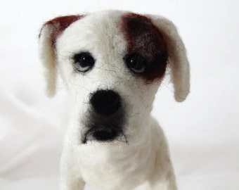 Custom Boxer Sculpture - needle felted plushie soft sculpture dog sculpture - Boxer Dog Art