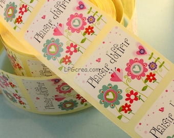 """20 labels gift stickers - """"Happy to offer"""" flowers Decor # EMB54"""