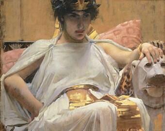 "John William Waterhouse ""Cleopatra"" Pharaoh of Ancient Egypt Roman 1888 Reproduction Digital Print"