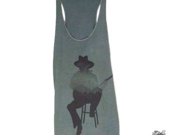 Musician Guitar Player, Mountains, Pacific Northwest women's tank top, hand dyed