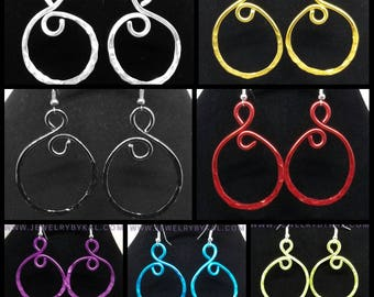 Open Loop Colorful Light Weight Aluminum Earrings