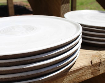 Handmade Salad Plates Wheel Thrown Stoneware Pottery Dinnerware Set