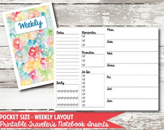 Pocket Size - Week on 2 Page PRINTABLE Insert for Traveler's Notebooks