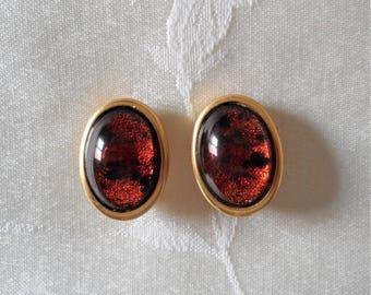 Liz Claiborne Lucite Oval Gold Tone Clip Earrings