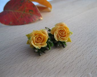 Orange rose earrings Fall wedding jewelry Autumn jewelry Miniature jewelry Nature earrings Fall earrings Autumn wedding earrings Acorn