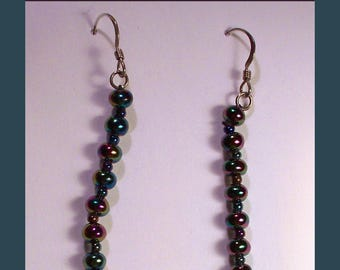 HANDCRAFTED DANGLE EARRINGS – Black Rainbow Freshwater Pearls With Black Rainbow Hued Spacers - Sterling Silver - Made In Maine