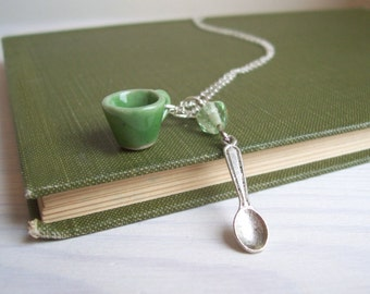 Green Tea necklace - ceramic teacup and little spoon charm in silver - miniature jewellery