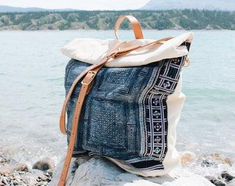 Myrah Indigo Batik Backpack/Messenger