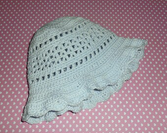 Bob, sky blue cotton crochet hat for baby from 3 months